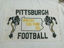 Vintage Pittsburgh Steelers Woven Throw Rug Banner Nfl Football Pa