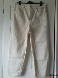 Uniqlo Size Waist 30 Inches/ 76cm Ivory Slouched Tapered Ankle Jeans New
