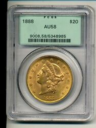 1888 Pcgs Au 58 20 Gold Liberty Double Eagle Green Label