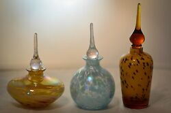 Lot Of Three Beautiful Hand Blown Glass Perfume Bottles With Pointed Toppers