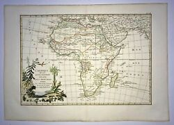 Africa 1780 Jean Janvier Large Nice Antique Engraved Map Old Colors 18th Century