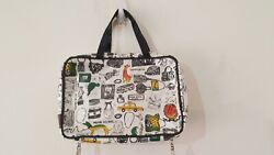 Henry Bendel Hanging Cosmetic Bag NY Theme Taxi Dogs Jewelry Purse Art $65.00