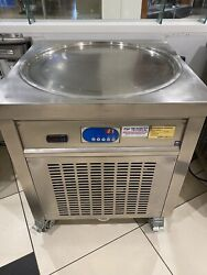 Ce Commercial 28'' Single Round Pan Fried Ice Cream Roll Machine W/cover