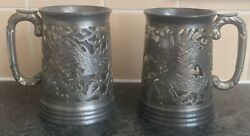 Pair Antique Swatow Style Hing Fat Chinese Pierced Pewter Dragon Tankards Mugs