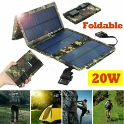 20w Folding Solar Panel Usb Battery Charger Power Bank Camping Hiking Outdoor Si