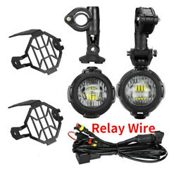 Pair Led Fog Auxiliary Lights Satety Driving Lamp For Bmw R1200gs R1100gs F800gs
