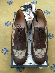 Mens Shoes Brown Canvas Leather Fringe Lace Up Uk 8 Us 9 42 Thompson Bee