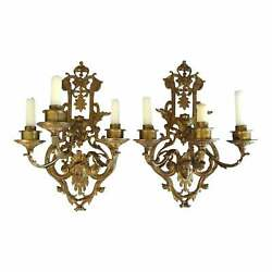 Late 19th Century French Empire Style Three-light Gilt Bronze Sconces - A Pair