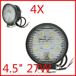 4x Round 4.5 27w Led Driving Worklight Trucklamp Boat Offroad For Jeep Atv Suv