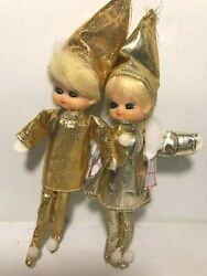 Set Of 2 Pixies/ Elves Christmas Ornaments Boy Girl Dolls Gold Outfits 7.5 Tall
