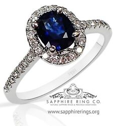 Certified 18kt White Gold 1.41 Tcw Blue Oval Cut Natural Sapphire And Diamond Ring