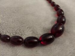 Vintage Tested Cherry Amber Bakelite Knotted Bead Art Dec Necklace 66g
