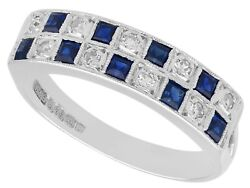 Vintage 0.30 Ct Sapphire And 0.27 Ct Diamond 18k White Gold Dress Ring 1966