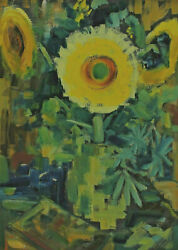 On Both Sides Painted Back Signed Klotz Dated 61 - Still Life Sunflower