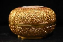 Old China Gold Plated Copper Nephrite Set Dragon Pattern Jewelry Box