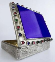 Majestic Antique Jeweled Silver Hinged Box