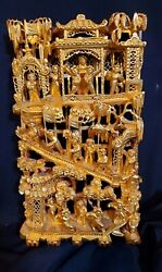 Antique Chinese Temple Wood Carving Panel With Gold Gilt 12 1/2 X 7 X 2