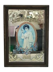 """Anheuser Busch Vintage Mirror Budweiser Girl With White Dress And Bottle 18 X 13"""""""