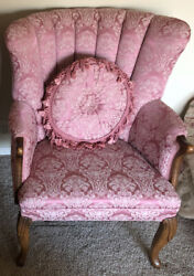 Queen Anne Pecan Wing Back Chair With Matching Fringed Pillow Pink Damask