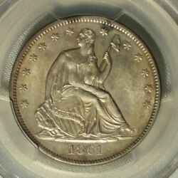 1861 Seated Liberty Half Dollar. Pcgs Uncirculated Details. Sharp W/good Luster