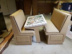 Handmade/custom Mosaic Table With Booth Seating Inlaid Silverware And Plates