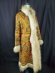 Vtg 60-70s Afghan Heavy Embroidered Shearling Lamb Fur Hippie Coat-bust 38/xs