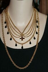 New With Tag St John 22k Gold-plated 5-strand Couture Onyx Glass Beads Necklace