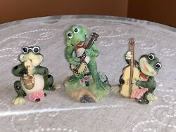 Frog Figurines Lot Of 3 Playing Musical Jazz Instruments