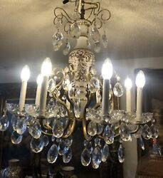 8 Light Hand Painted Glass Crystal Bohemian Chandelier