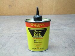 Vintage Outers 445 Gun Cleaning Firearm Oil Can Advertising Hunting 3 Oz Oval