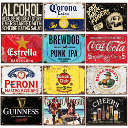 Metal Tin Signs Vintage Pub Bar Home Cafe Wall Beer Wine Rusty Retro Plaques