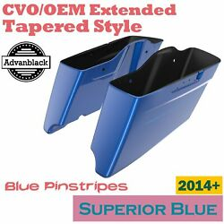 Superior Blue Cvo Tapered Extend Stretched Saddlebags Pinstripes For Harley 14+