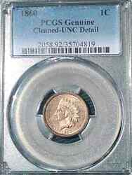 1860 Indian Cent Pcgs Graded Genuine Uncirculated Cleaned Very Nice Sharp Indian