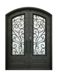 Crowley Double Front Entry Wrought Iron Door Rain Glass 72 X 96 Right Active