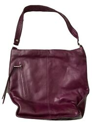 Hobo International Leather Shoulder Bag Purse With Protective Bag Eggplant $69.00