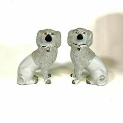 Pair Of Antique English Staffordshire Poodle Figurine