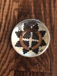 Native Old Pawn Miniature Sterling Silver Overlay Navajo Wedding Basket - 1.1andrdquo