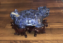 Early 20th Century Chinese Carved Lapis Longui Turtle Dragon Snuff Box
