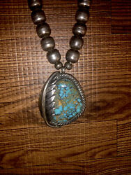 Old Pawn Navajo Lavender Pit Bisbee Turquoise And Sterling Bench Bead Necklace