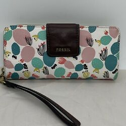 Fossil Women#x27;s Madison Slim Tab Clutch Leather Pink White Green Multi Wallet $32.00