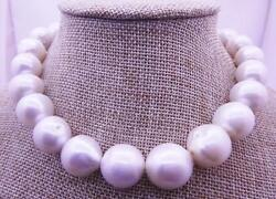 Huge 1814-18mm South Sea Genuine White Round Pearl Necklace With A Little Dents