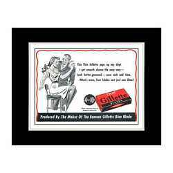 1944 Thin Gillette Razor Blades - Matted For 11x14 Frame