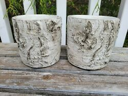 Three Hands Cement Birch Wood Look Small Planters Flower Pots 2 Used