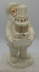 Lenox Porcelain Gold And White Santa With Presents Figurine Christmas Collectible