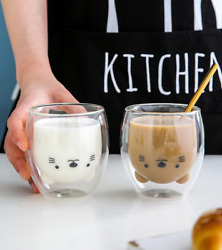 Double Wall Cat Glass Cup For Tea Coffee Milk 375 ml Cute Cat Coffee Cup