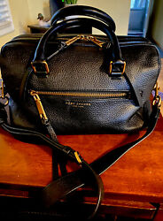 MARC JACOBS RECRUIT BAULETTO SATCHEL BAG Black Gold $139.00