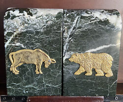 Bey-berk Stock Market Bull And Bear Bookends - Green Marble With Brass Accents