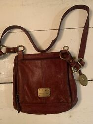 Fossil Leather Small Brown Leather Shoulder Purse $19.99