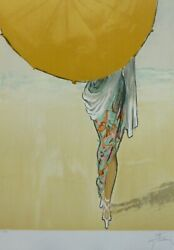 Rene Gruau L'ombrelle Parasol Hand Signed Lithograph Dior Givenchy Illustrator