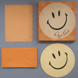 Vtg 70s Try A Smile Happy Face Stationary Boxed Set Happy Letter In The Round